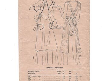 1920s Pictorial Printed Pattern 5739, Misses' Full Apron and Flared Cuffs, Pictorial Review Co., Size 16 Bust 34