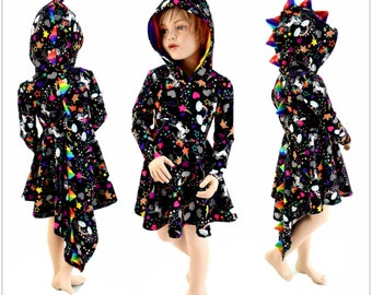 Long Sleeve Hooded Dragon Skater Dress w/Dragon Tail Hemline Girls Size 2T-12 Unicorns & Rainbows w/Rainbow Spikes and Hood Liner 154086