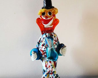 Colourful Vintage Murano Glass Clown - 1960s