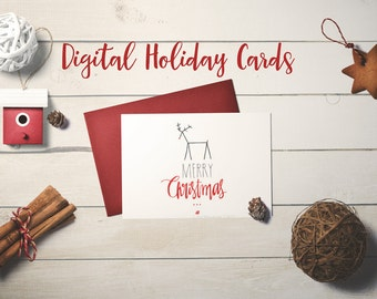 Merry Christmas! reindeer hand lettered Merry Christmas card