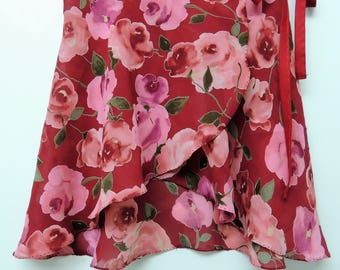 Red and pink floral ballet wrap skirt-  Short
