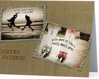 "Friendship card, girlfriends, best friends greeting card, vintage pictures of skates and beach, 5.5"" x 4"""