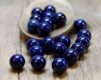 Riverstone Gemstone Beads - Blue, Indigo, Lapis Blue - 12mm Round - 10 Beads