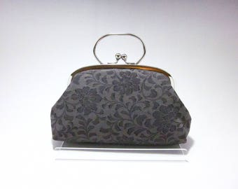 Grey Clutch/ Floral / Vintage kimono bag/ Silver purse frame/hand made