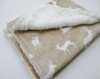 Tan and Ivory Deer Minky Baby Blanket - Made to Order