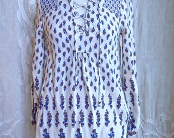 Rayon Indian Print Lace Up Tunic