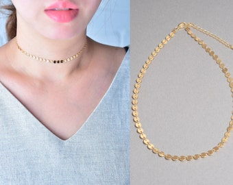 Coin Choker, Gold Coin Choker, Silver Coin Choker, Tattoo Choker Necklace, Bohemian Layering Necklace, Boho Jewelry, Bohemian Choker