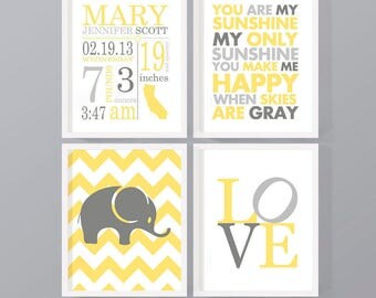 neutral baby announcement, birth announcement yellow and gray, birth stats print, baby nursery art, new baby gift, baby birth stats print