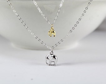 Elephant Layered Necklaces,Gift for New Mother. Elephant Necklaces,Layering, Layered Elephant Jewelry, Double Layered,New mom necklace.
