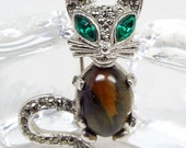 Vintage Silver Cute Crystal and Tigers Eye Sphinx Jelly Belly Cat Brooch Pin
