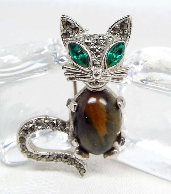 Vintage Silver Cute Crystal and Tiger's Eye Sphinx Jelly Belly Cat Brooch Pin