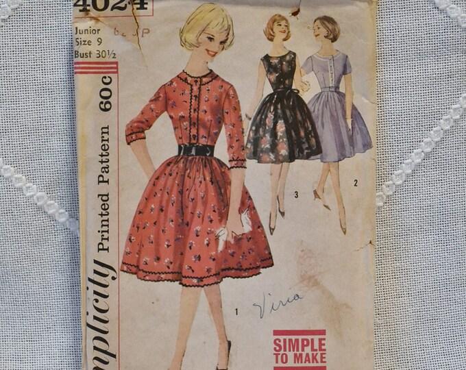 Vintage Simplicity 4024 Sewing Pattern Crafts Jumior Misses Dress Jumper Size 9  DIY Sewing Crafts PanchosPorch