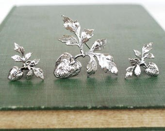 Strawberry Season,  Sterling Silver Brooch and Clip on Earring set, Matching Summer Estate Jewelry, Signed Longcraft and Michele