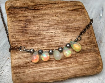Tiny opal necklace - row of fire opals - copper bohemian Ethiopian opal jewelry