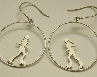 Skating silver earrings, artistic skating