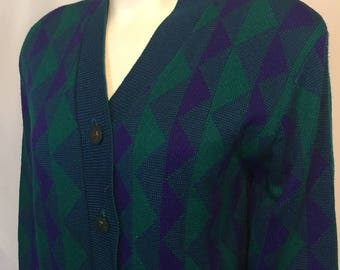 Vintage Large L 80s Cardigan Green Purple Totally Tubular Cardigan Sweater Triangle Stripes Made in USA ami knits