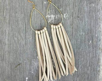 Leather Fringe Earrings / Leather Earrings / Tassel Earrings / Gold Dangles / Boho Earrings / Western Earrings / Bear and Her Honey