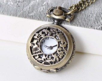 1 PC Antique Bronze Bird On Twig Cover Pocket Watch Pendant 27mm A8771