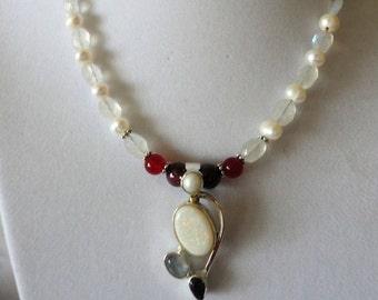 Gorgeous Australian Opal Rainbow Garnet Necklace Set****.
