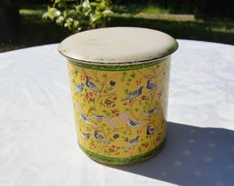 1940 French vintage  round tin box  ,yellow tin box, birds decor, tea box,coffee box,sugar box,round tin box