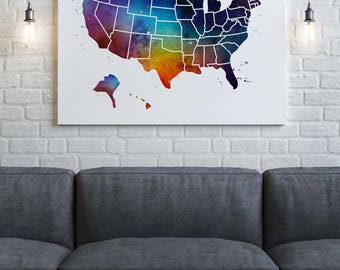 United States Canvas, United States Map, Map Wall Art, USA Map Decor, Watercolor Map, Travel Gift, Home Decor, Wanderlust, Canvas Print