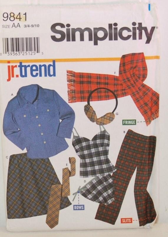 Simplicity 9841 C. 2001 Junior Trend Junior Sizes 3/4
