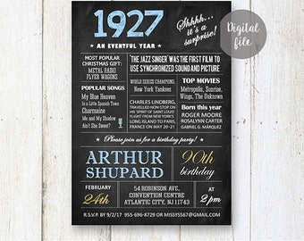 Surprise 90th Birthday Invitations | Chalkboard 90th birthday invitation for him great grandfather father | Fun facts 1927 DIGITAL file!