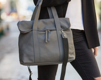 Leather satchel in gray