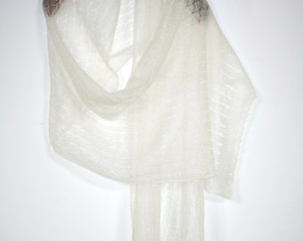 White stole, bridal stole, wedding scarf, white Mohairstola, knitted, summer scarf, Mohairschal