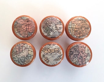 Map Cabinet Knobs World Map Knobs Map Drawer Knobs
