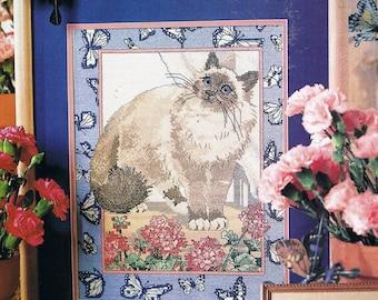 CROSS STITCH PATTERN - Himalayan Cat & Butterflies Counted Cross Stitch Patterns - Butterfly Cross Stitch - Cat Cross Stitch