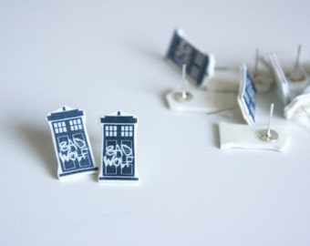 SALE Doctor Who Earrings | TARDIS Earrings| Doctor Who Accessories | Bad Wolf | Doctor Who Jewellery | Whovian gifts for her | Doctor Who