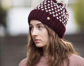 Burgundy Wine Polka Dot Pom Pom Hand Knit Hat