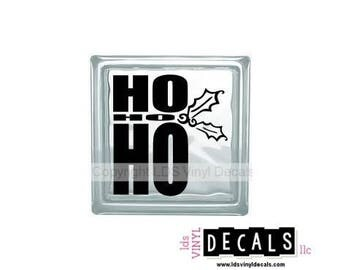 HO HO HO - Christmas Vinyl Lettering for Glass Blocks - Holiday Craft Decals