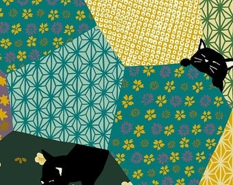 Cat Fabric, Black Cat, Patchwork Cat - Neko 2 by Hyakka Ryoran for Quilt Gate HR 3170 11 B - Green/Yellow - Priced by the Half Yard