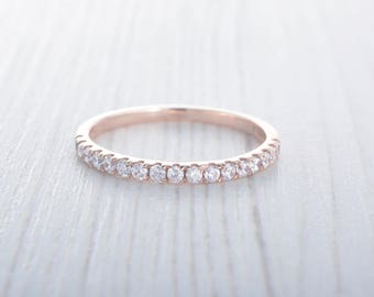 1.8mm wide Lab Diamond Half Eternity ring Solid Rose Gold - stacking ring - wedding band - handmade engagement ring