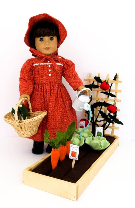 Doll GARDEN Handcrafted for 18 Inch dolls such as American Girl®  Raised bed garden, 12 wool-blend felt veggies, accessories