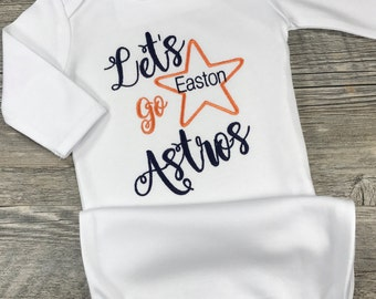 Astros baby gift etsy monogrammed gown personalized boy or girl houston astros baby shower gift for dad negle Gallery