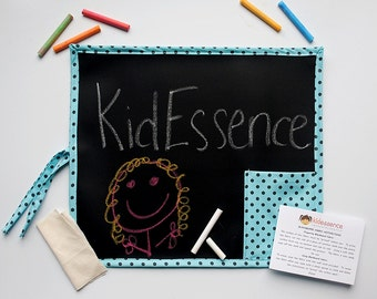 Kid's Chalkboard - Kid's Travel Chalkboard - Kids Chalkboard Mat - Travel Toy - Polka Dot Chalkboard - Blue Chalkboard - Kid's Birthday Gift