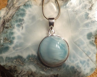Beautiful Larimar Pendant comes with a Sterling silver Chain