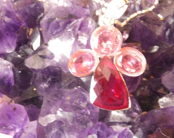 Vintage Pink Glass Pendant with Sterling Chain