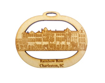 Rainbow Row Ornament - Rainbow Row Christmas Ornament - Rainbow Row Ornaments - Charleston, SC Souvenir - Personalized Free