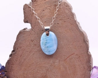 Larimar Pendant, Natural gemstone jewelry, Chakra gemstone pendant, Something blue, Womens statement jewelry, Special gift, Mothers Day