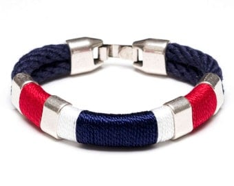 Nautical Rope Bracelet / Nautical Jewelry / Navy Blue Rope Bracelet / Patriotic Rope Bracelet / Nautical Gift / Red White Blue Bracelet
