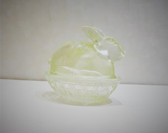 Vintage Pale Green Glass Nesting Bunny Rabbit Candy Dish presented by Donellensvintage