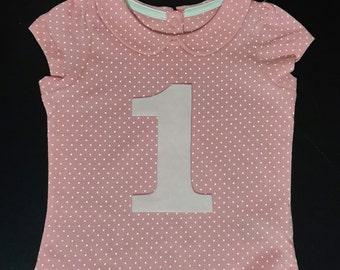 Girls 1st Birthday t shirt, baby 1st birthday, girls birthday top, 1st birthday number shirt, pink dotty birthday top