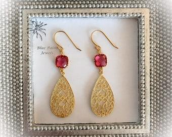 20% OFF- Handmade Gold Dangle Earrings