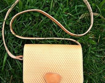 "New ""Agathe"" Rhombus Motif Saddle Bag / Natural Color Twininas Bag /  Crossbody Greek Leather Bag / Shoulder Bag"