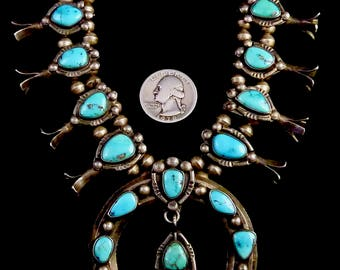 ON LAYAWAY 4 Kay: 160g Vintage Old Pawn Navajo Sterling Silver Squash Blossom Necklace w Brilliant Bisbee Turquoise! Compact Old Piece!