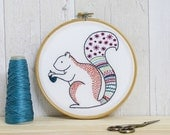 Squirrel Contemporary Embroidery Kit - Embroidery Hoop Art - Modern Embroidery Kit - Hand Embroidery Kit - Craft Kit - Embroidery Pattern